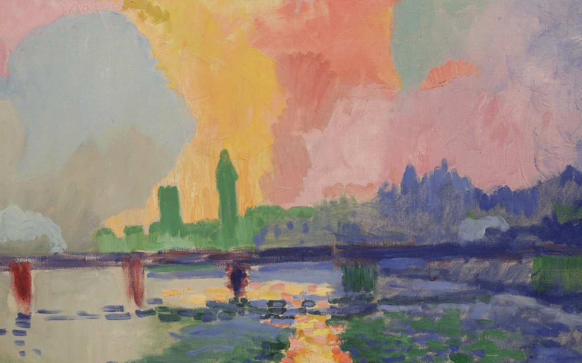 André Derain. *Charing Cross Bridge.* London, 1905–06. Oil on canvas, 32 1/8 × 39 5/8ʺ (81.7 × 100.7 cm). Fractional gift of Mr. and Mrs. David Rockefeller. © 2016 Artists Rights Society (ARS), New York / ADAGP, Paris. Photo: Paige Knight