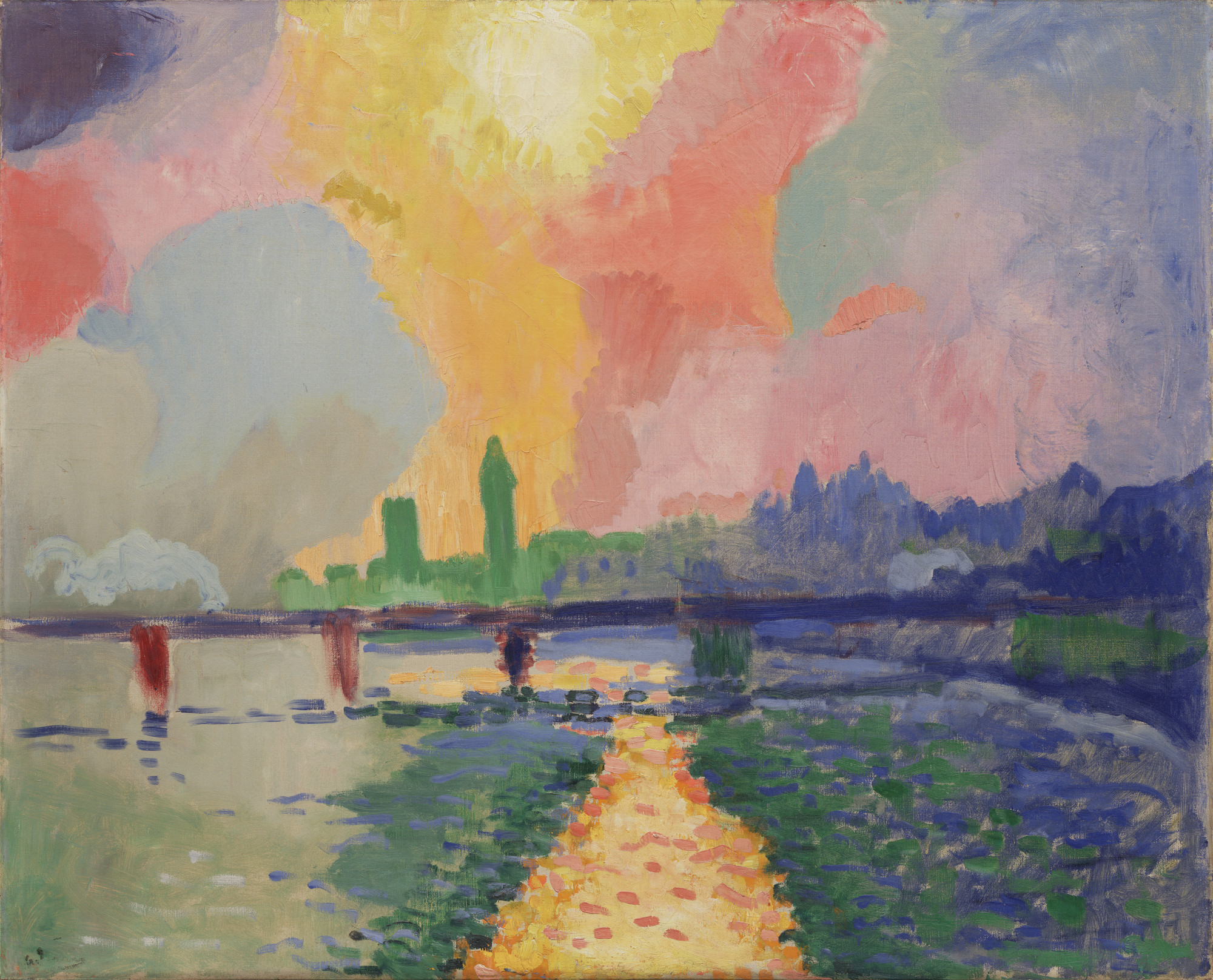 André Derain. Charing Cross Bridge. London, 1905–06. Oil on canvas, 32 1/8 × 39 5/8ʺ (81.7 × 100.7 cm). Fractional gift of Mr. and Mrs. David Rockefeller. © 2016 Artists Rights Society (ARS), New York / ADAGP, Paris. Photo: Paige Knight