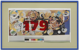 Martin Kippenberger. *Untitled.* 1989. Cut-and-pasted-printed paper and cut-and-pasted synthetic sheeting on photo offset lithograph in artist's frame, 21 7/8 × 39 1/2ʺ (55.5 × 99.8 cm). Gift of Walter Bareiss. © 2016 Estate Martin Kippenberger, Galerie Gisela Capitain, Cologne