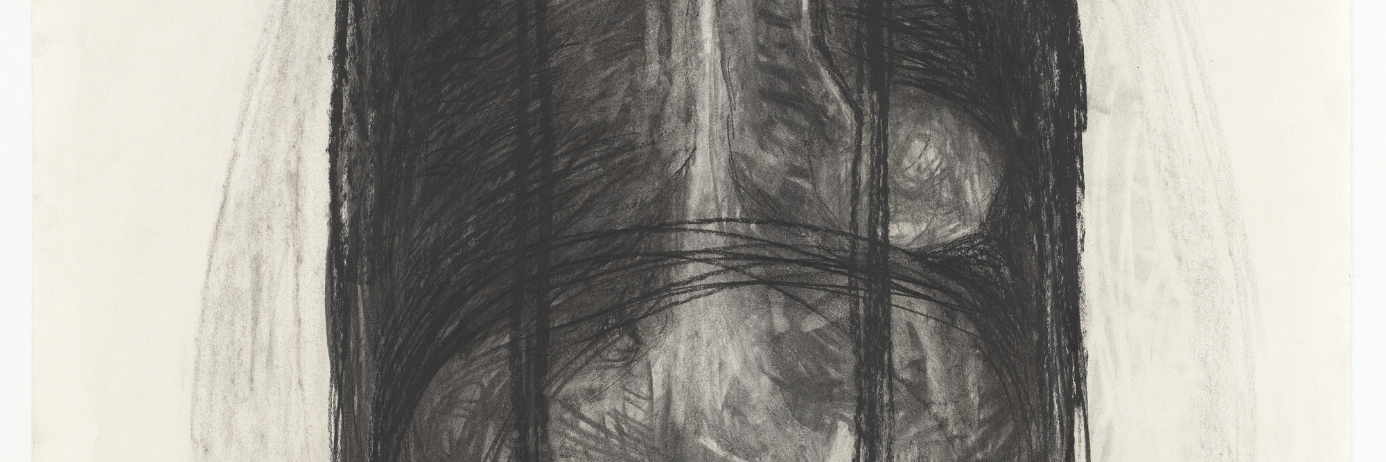 Magdalena Abakanowicz. Body 81F. 1981. Charcoal on paper, 39 3/8 × 29 5/8″ (100 × 75.3 cm). Gift of Edward R. Broida and Richard E. Salomon. © 2016 Magdalena Abakanowicz. Photo: Thomas Griesel