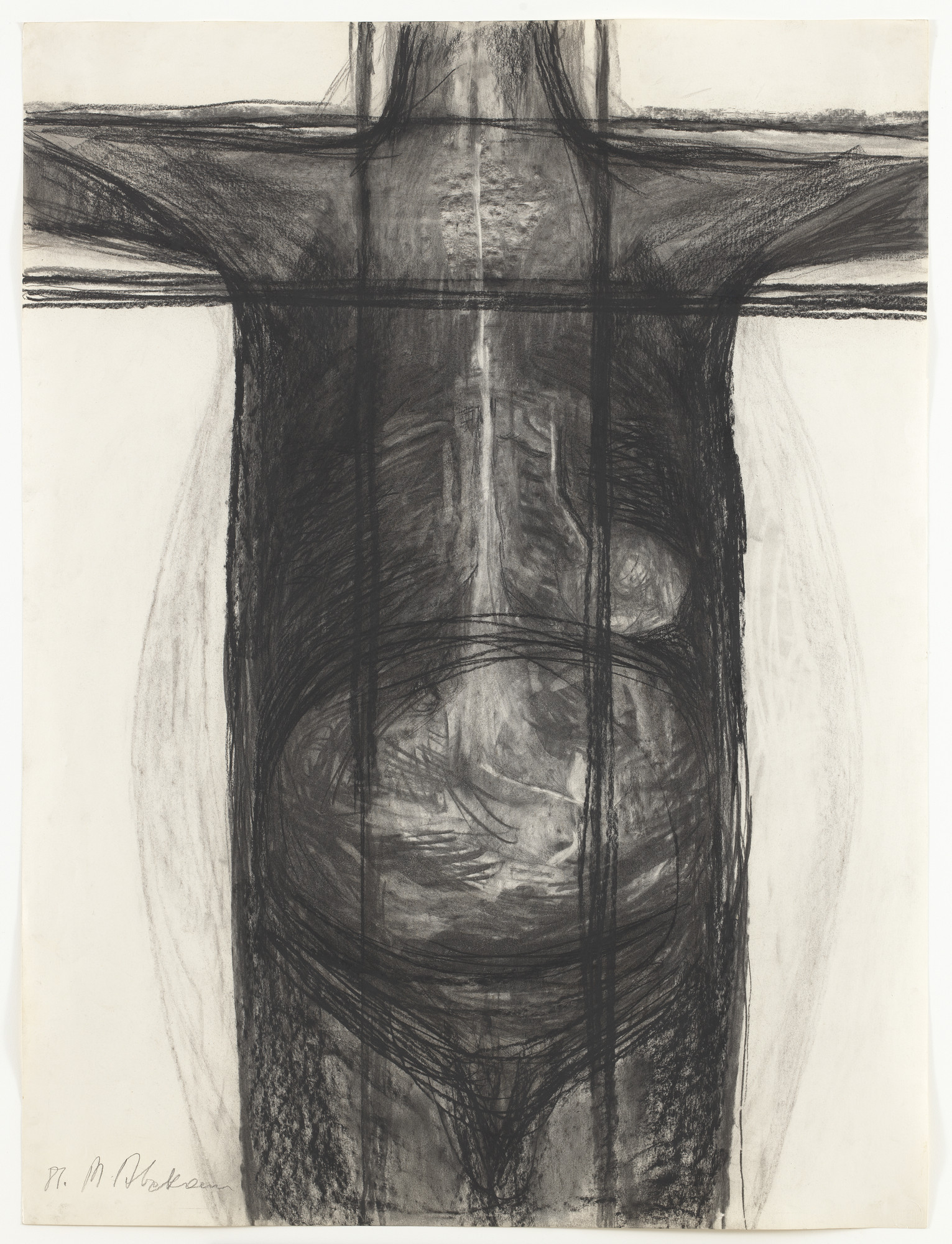Magdalena Abakanowicz. Body 81F. 1981. Charcoal on paper, 39 3⁄8 × 29 5/8″ (100 × 75.3 cm). Gift of Edward R. Broida and Richard E. Salomon. © 2016 Magdalena Abakanowicz. Photo: Thomas Griesel
