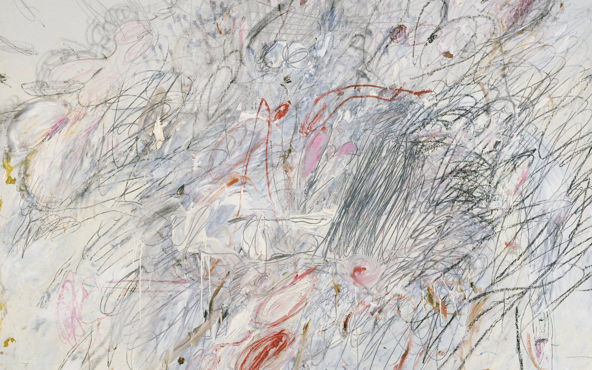 Cy Twombly. *Leda and the Swan.* Rome, 1962. Oil, pencil, and crayon on canvas, 6′ 3″ × 6′ 6 3/4″ (190.5 × 200 cm). Acquired through the Lillie P. Bliss Bequest and The Sidney and Harriet Janis Collection (both by exchange). © 2016 Cy Twombly Foundation