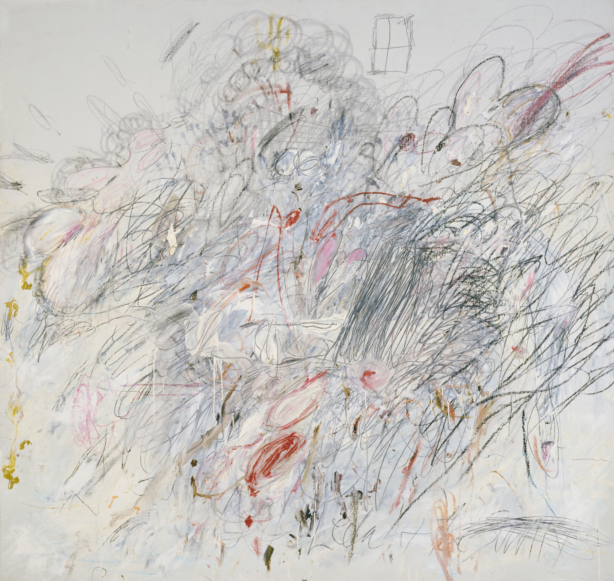Cy Twombly. Leda and the Swan. Rome, 1962. Oil, pencil, and crayon on canvas, 6′ 3″ × 6′ 6 3/4″ (190.5 × 200 cm). Acquired through the Lillie P. Bliss Bequest and The Sidney and Harriet Janis Collection (both by exchange). © 2016 Cy Twombly Foundation