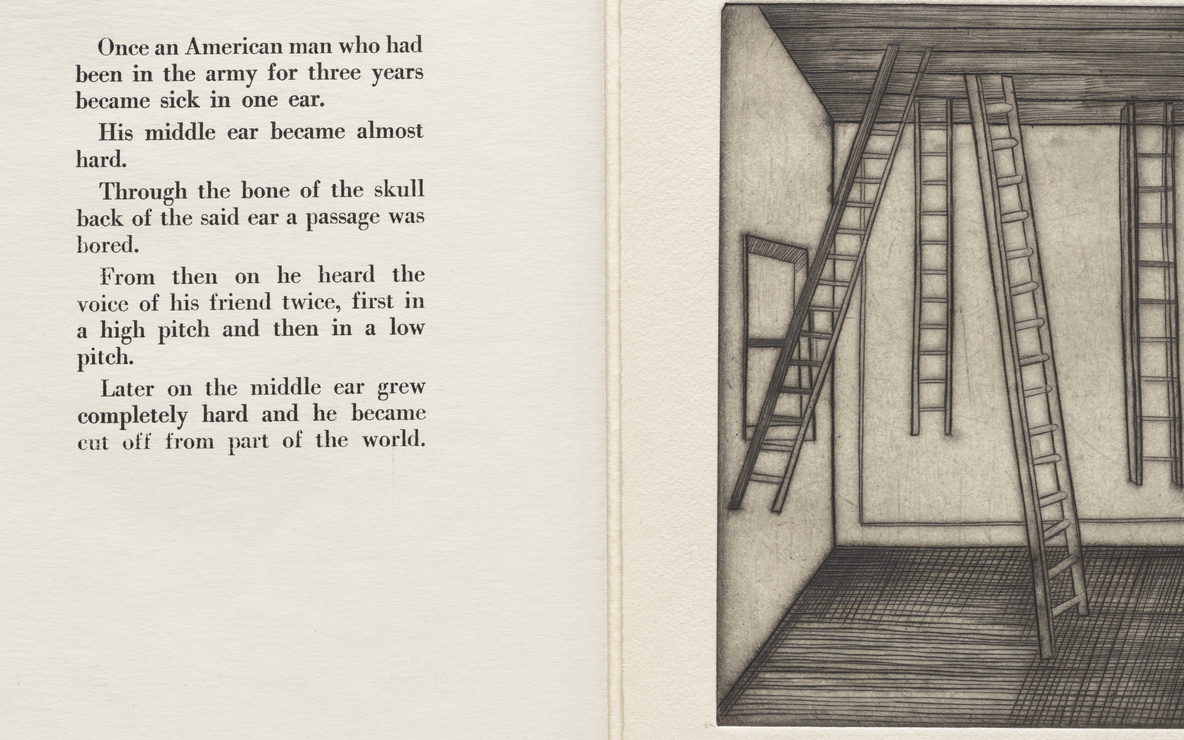 Louise Bourgeois. *Untitled*, plate 8 of 9, from the illustrated book *He Disappeared into Complete Silence.* 1947. Author: the artist. Engraving and drypoint, page: 10 × 6 7/8″ (25 × 17.5 cm). Publisher: Gemor Press, New York. Printer: The artist at Atelier 17, New York. Abby Aldrich Rockefeller Fund. © 2016 The Easton Foundation/Licensed by VAGA, NY. Photo: Peter Butler