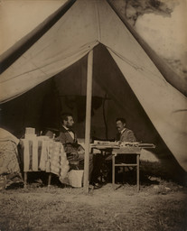 Alexander Gardner. *The President (Abraham Lincoln) and General McClellan on the Battlefield of Antietam.* 1862. Gelatin silver print, printed later; 19 1/2 × 15 3/4″ (49.5 × 40.0 cm). Gift of Carl Sandburg and Edward Steichen