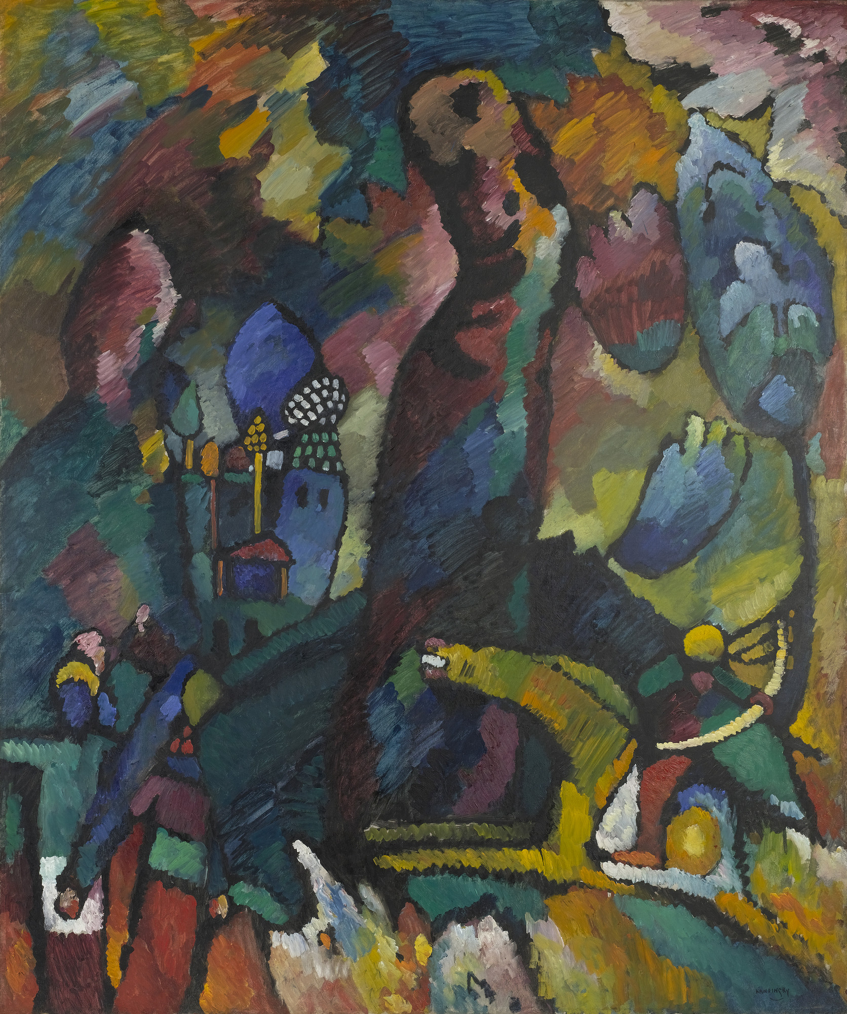 Vasily Kandinsky. Picture with an Archer. 1909. Oil on canvas, 68 7⁄8 × 57 3/8″ (175 × 144.6 cm). Gift and bequest of Louise Reinhardt Smith. © 2016 Artists Rights Society (ARS), New York / ADAGP, Paris. Photo: John Wronn