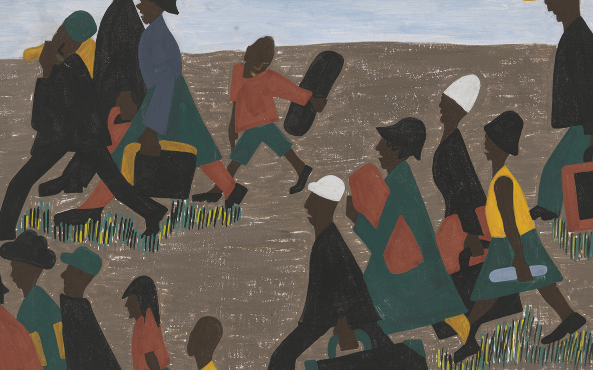 Jacob Lawrence. *The migrants arrived in great numbers* (panel 40 of 60). 1940–41. Casein tempera on hardboard, 12 × 18″ (30.5 × 45.7 cm). Gift of Mrs. David M. Levy. © 2016 Jacob Lawrence / Artists Rights Society (ARS), New York