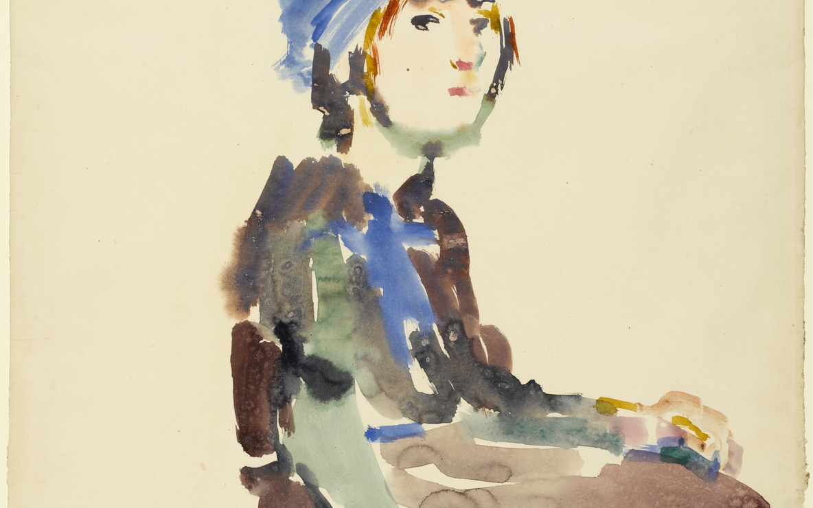 Oskar Kokoschka. *Seated Girl.* 1922. Watercolor on paper, 27 3/8 × 20 3/8″ (69.5 × 51.6 cm). The Joan and Lester Avnet Collection. © 2016 Artists Rights Society (ARS), New York / Pro Litteris, Zurich. Photo: Robert Gerhardt