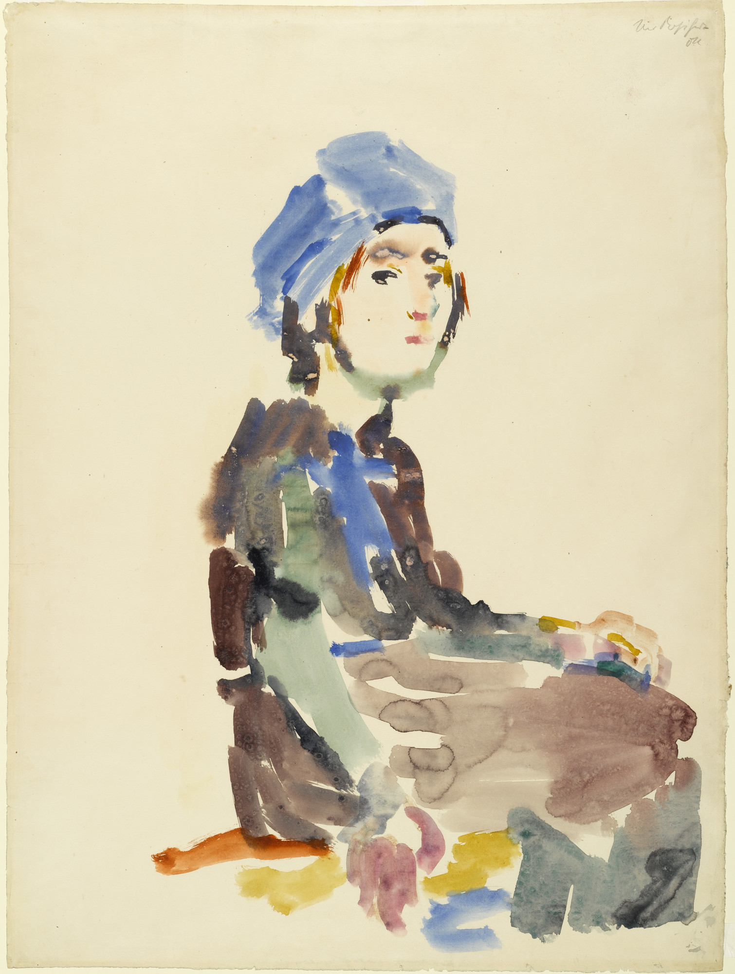 Oskar Kokoschka. Seated Girl. 1922. Watercolor on paper, 27 3⁄8 × 20 3/8″ (69.5 × 51.6 cm). The Joan and Lester Avnet Collection. © 2016 Artists Rights Society (ARS), New York / Pro Litteris, Zurich. Photo: Robert Gerhardt