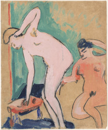 Erich Heckel. *Two Female Nudes (Zwei weibliche Akte).* 1910. Gouache and pencil on paper, 23 1/2 × 19 3/8″ (59.7 × 49.2 cm). Gift of Jo Carole and Ronald S. Lauder. © 2016 Erich Heckel / Artists Rights Society (ARS), New York / VG Bild-Kunst, Germany. Photo: John Wronn