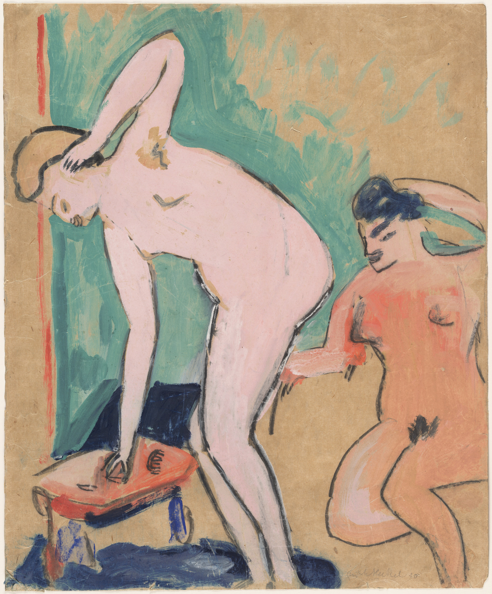 Erich Heckel. Two Female Nudes (Zwei weibliche Akte). 1910. Gouache and pencil on paper, 23 1⁄2 × 19 3/8″ (59.7 × 49.2 cm). Gift of Jo Carole and Ronald S. Lauder. © 2016 Erich Heckel / Artists Rights Society (ARS), New York / VG Bild-Kunst, Germany. Photo: John Wronn