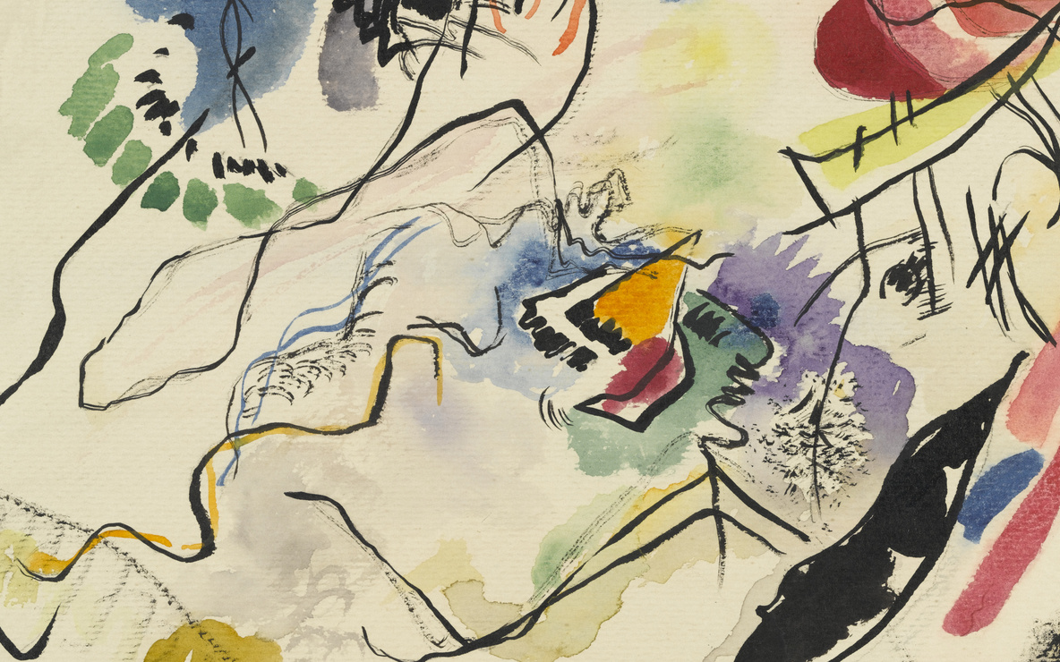 Vasily Kandinsky. *Watercolor No. 14 (Aquarell No. 14).* 1913. Watercolor and ink on paper, 9 3/8 × 12 3/8″ (23.8 × 31.4 cm). Katharine S. Dreier Bequest. © 2016 Artists Rights Society (ARS), New York / ADAGP, Paris. Photo: Robert Gerhardt