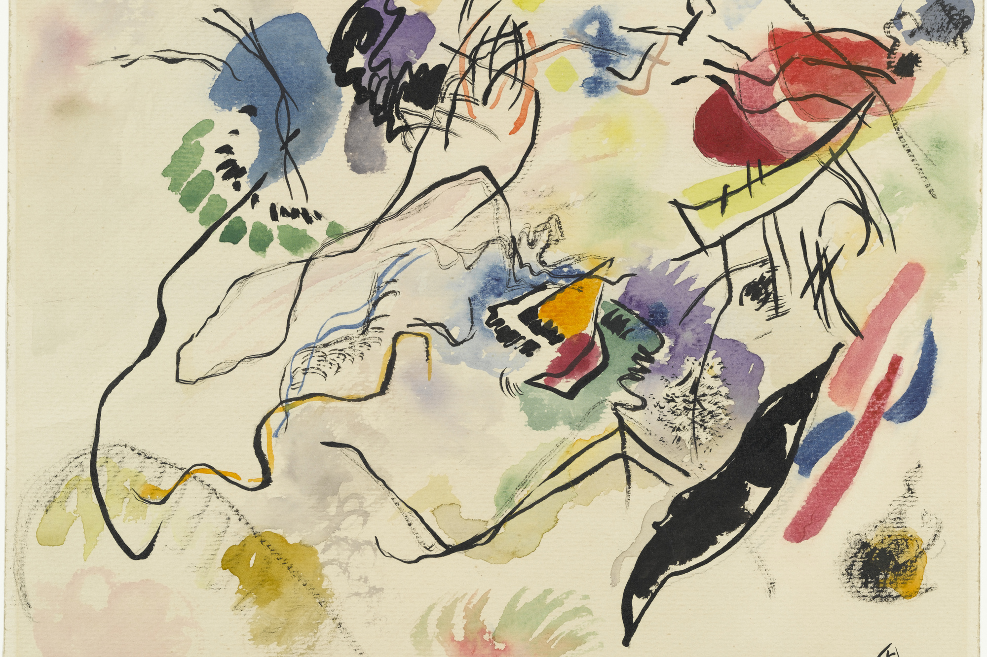 Vasily Kandinsky. Watercolor No. 14 (Aquarell No. 14). 1913. Watercolor and ink on paper, 9 3/8 × 12 3/8″ (23.8 × 31.4 cm). Katharine S. Dreier Bequest. © 2016 Artists Rights Society (ARS), New York / ADAGP, Paris. Photo: Robert Gerhardt