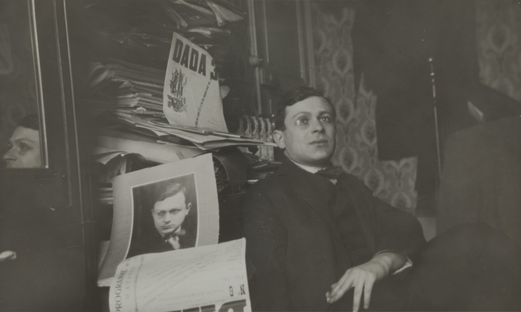 Unknown photographer. *Portrait of Tristan Tzara.* c. 1920. Gelatin silver print, 4 1/2 × 7 5/16″ (11.5 × 18.5 cm). Dadaglobe submission from Tristan Tzara (Samuel Rosenstock) (French, born Romania, 1896–1963). Collection Chancellerie des Universités de Paris, Bibliothèque littéraire Jacques Doucet, Paris, Fonds Tzara