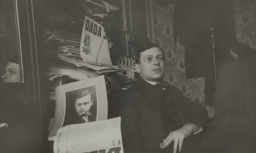 Unknown photographer. Portrait of Tristan Tzara. c. 1920. Gelatin silver print, 4 1⁄2 × 7 5/16″ (11.5 × 18.5 cm). Dadaglobe submission from Tristan Tzara (Samuel Rosenstock) (French, born Romania, 1896–1963). Collection Chancellerie des Universités de Paris, Bibliothèque littéraire Jacques Doucet, Paris, Fonds Tzara