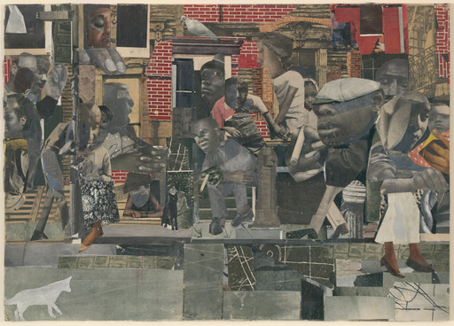 Romare Bearden. *The Dove.* 1964. Cut-and-pasted printed paper, gouache, pencil, and colored pencil on board, 13 3/8 × 18 3/4″ (33.8 × 47.5 cm). Blanchette Hooker Rockefeller Fund. Photo: Thomas Griesel