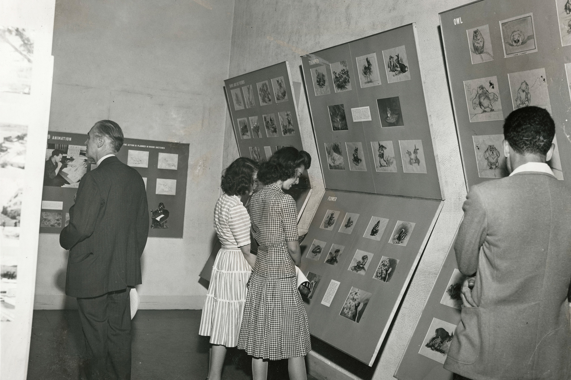 Installation view of Bambi: The Making of an Animated Sound Picture at The Museum of Modern Art, New York