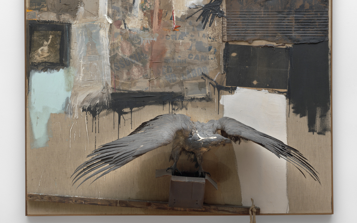 Robert Rauschenberg. *Canyon.* 1959. Oil, pencil, paper, metal, photograph, fabric, wood, canvas, buttons, mirror, taxidermied eagle, cardboard, pillow, paint tube and other materials, 81 3/4 × 70 × 24″ (207.6 × 177.8 x 61 cm). Gift of the family of Ileana Sonnabend. © 2016 Robert Rauschenberg Foundation/Licensed by VAGA, New York, NY
