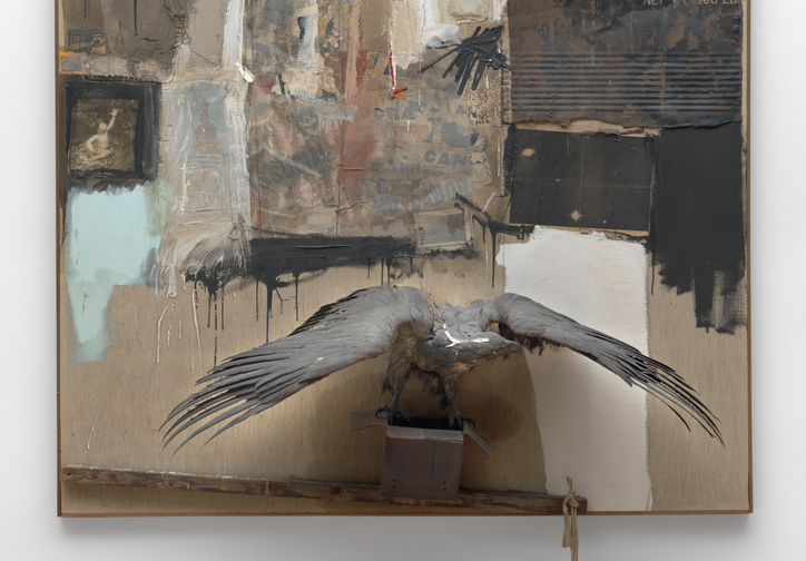 Robert Rauschenberg. Canyon. 1959. Oil, pencil, paper, metal, photograph, fabric, wood, canvas, buttons, mirror, taxidermied eagle, cardboard, pillow, paint tube and other materials, 81 3/4 × 70 × 24″ (207.6 × 177.8 x 61 cm). Gift of the family of Ileana Sonnabend. © 2016 Robert Rauschenberg Foundation/Licensed by VAGA, New York, NY