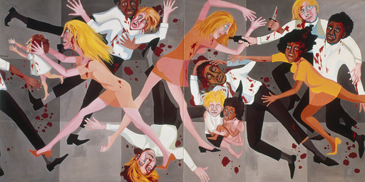 Faith Ringgold. American People Series #20: Die. 1967. Oil on canvas, two panels, 72 × 144″ (182.9 × 365.8 cm). Purchase; and gift of the Modern Women's Fund