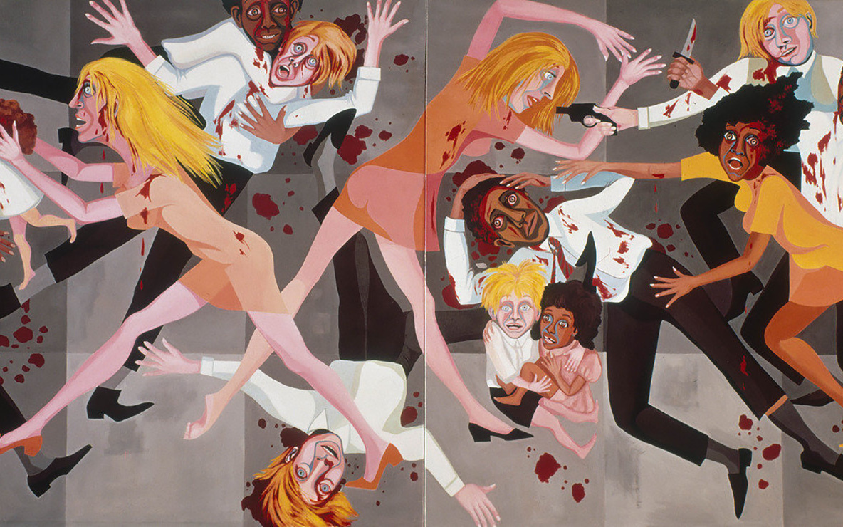 Faith Ringgold. *American People Series #20: Die.* 1967. Oil on canvas, two panels, 72 × 144″ (182.9 × 365.8 cm). Purchase; and gift of the Modern Women's Fund