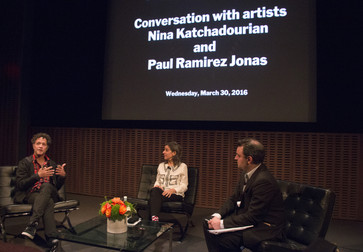 Conversation with artists Nina Katchadourian and Paul Ramirez Jonas, March 30, 2016, The Museum of Modern Art. Photo: Manuel Molina Martagon © 2016 The Museum of Modern Art, New York