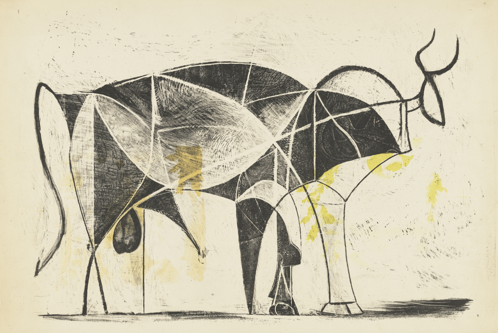 Pablo Picasso. The Bull (Le Taureau), state VII. December 26, 1945. Lithograph, composition: 12 3/16 × 18 7/16″ (31 × 46.8 cm); sheet: 13 1/16 × 19 7/16″ (33.2 × 49.3 cm). The Museum of Modern Art. Mrs. Gilbert W. Chapman Fund. © 2009 Estate of Pablo Picasso/Artists Rights Society (ARS), New York. Photo: Jonathan Muzikar