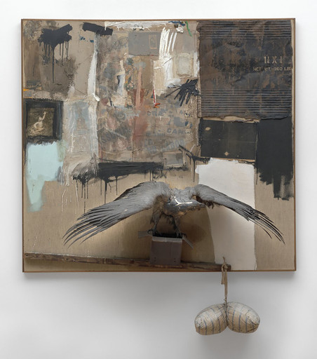 Robert Rauschenberg. Canyon. 1959. Oil, pencil, paper, metal, photograph, fabric, wood, canvas, buttons, mirror, taxidermied eagle, cardboard, pillow, paint tube, and other materials, 81 3⁄4 × 70 × 24″ (207.6 × 177.8 × 61 cm). Gift of the family of Ileana Sonnabend. © 2016 Robert Rauschenberg Foundation