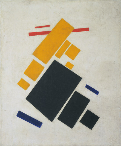 "Kazimir Malevich. Suprematist Composition: Airplane Flying. 1915. Oil on canvas. 22 7⁄8 x 19"" (58.1 x 48.3 cm). The Museum of Modern Art, New York. Acquisition confirmed in 1999 by agreement with the Estate of Kazimir Malevich and made possible with funds from the Mrs. John Hay Whitney Bequest (by exchange)"
