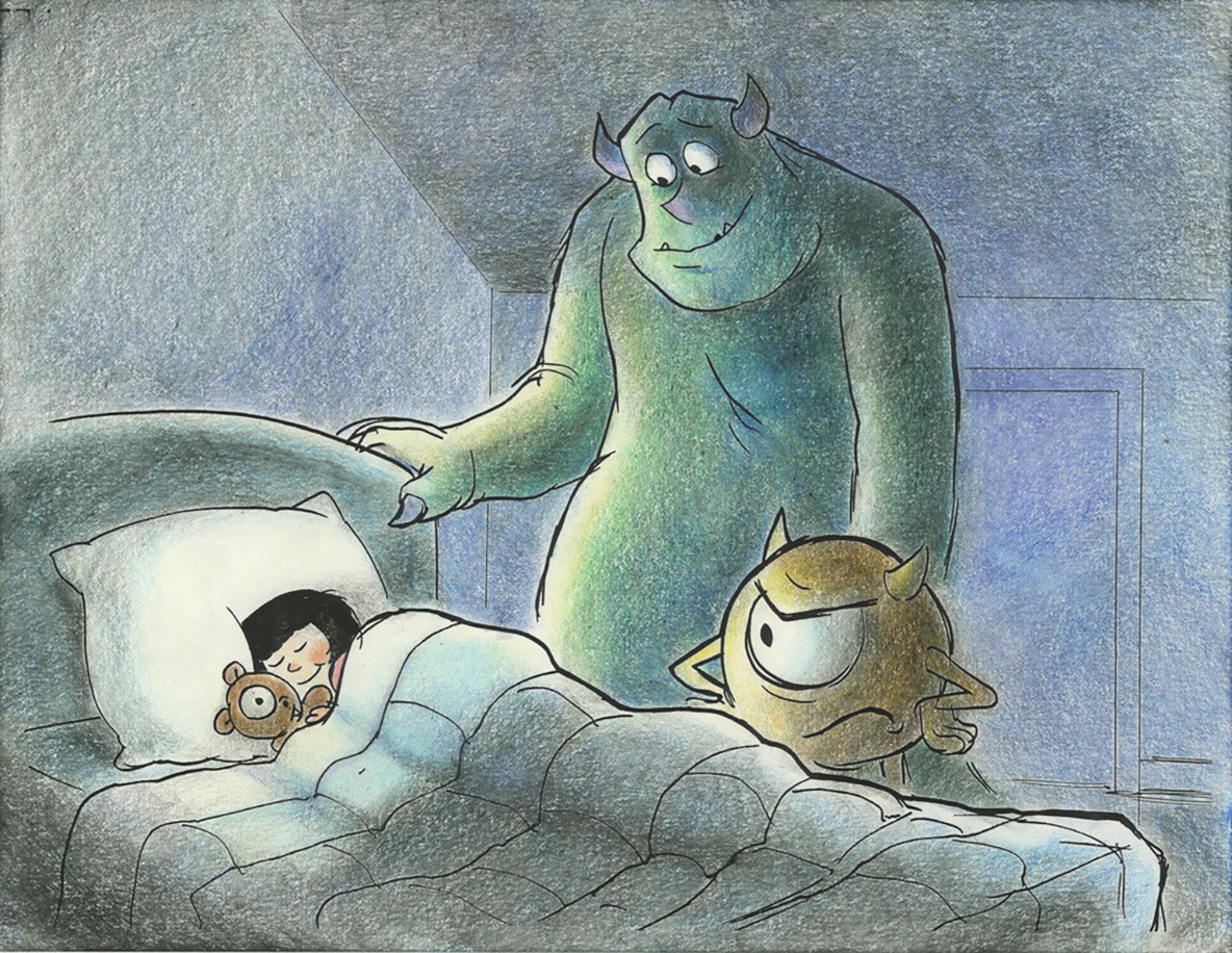 Joe Ranft. Storyboard sketch for Monsters, Inc. 2001. Courtesy of Pixar Archives. © Disney Enterprises, Inc.