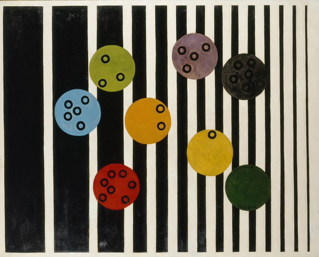 Francis Picabia. *Volucelle* [II]. 1923. Enamel paint on canvas, 6′ 6 1/4 × 8′ 2 1/2″ (198.8 × 250.2 cm). Private collection. © 2016 Artists Rights Society (ARS), New York/ADAGP (Paris). Photo: Suzanne Nagy, courtesy Archives Comité Picabia