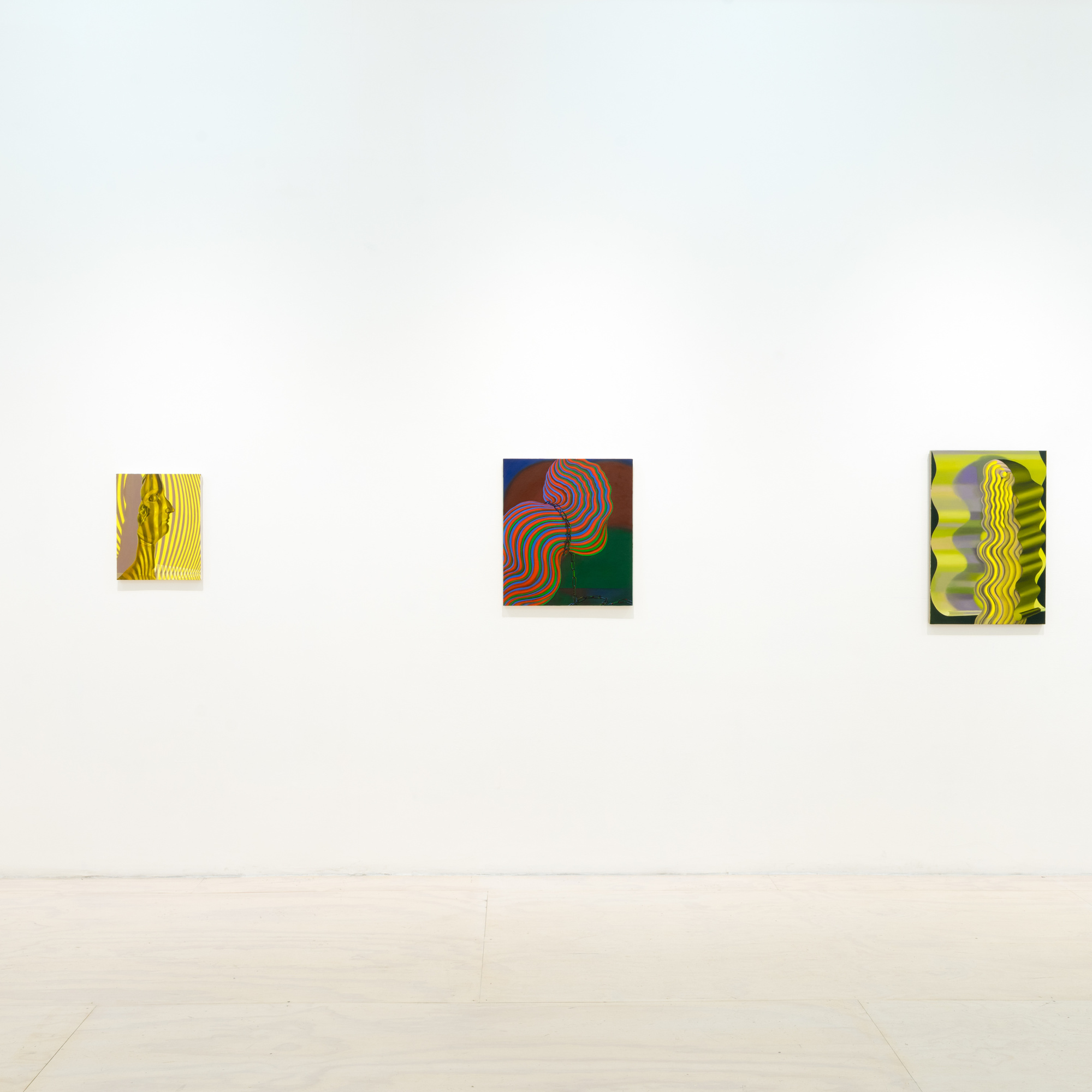 Installation view of Sascha Braunig: Shivers, MoMA PS1, October 23, 2016–March 12, 2017. Shown, from left: Sascha Braunig. Lashes. 2011. Oil on panel over canvas. Zabludowicz Collection; Gold Warp I. 2010. Oil on canvas. Private collection; Bridle. 2013. Oil on canvas over panel. Private collection; Shade. 2014. Oil on linen over panel. Collection of Scott J. Lorinsky; Feeder. 2014. Oil on canvas over panel. Private collection. Photo: Pablo Enriquez