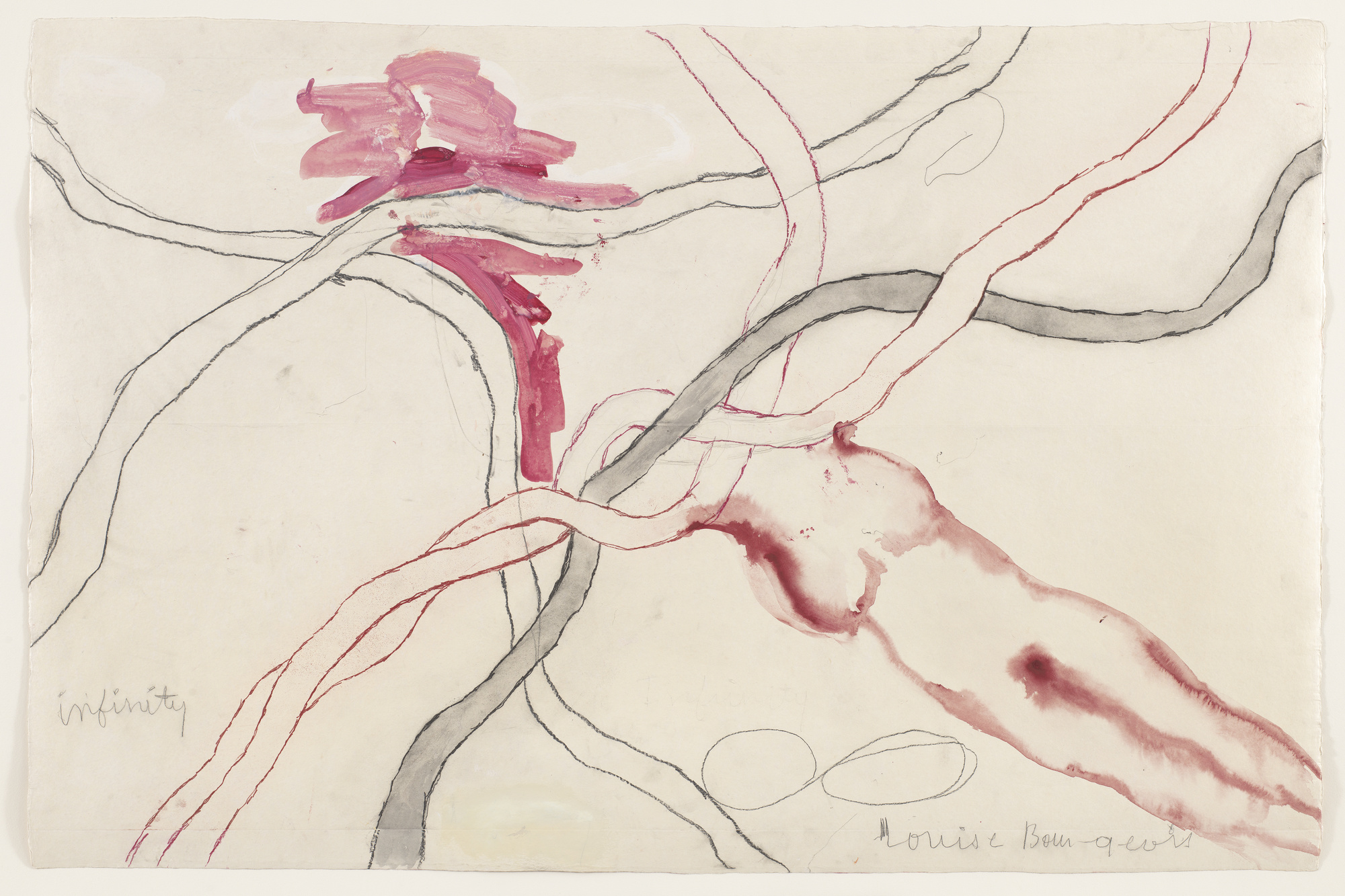 "Louise Bourgeois. No. 5 of 14 from the installation set À l'Infini. 2008. Soft ground etching, with selective wiping, watercolor, gouache, pencil, colored pencil, and watercolor wash additions, 40 x 60"" (101.6 x 152.4 cm). The Museum of Modern Art, New York. Purchased with funds provided by Agnes Gund, Marie-Josée and Henry R. Kravis, Marlene Hess and James D. Zirin, Maja Oeri and Hans Bodenmann, and Katherine Farley and Jerry Speyer, and Richard S. Zeisler Bequest (by exchange). © 2017 The Easton Foundation/Licensed by VAGA, NY"