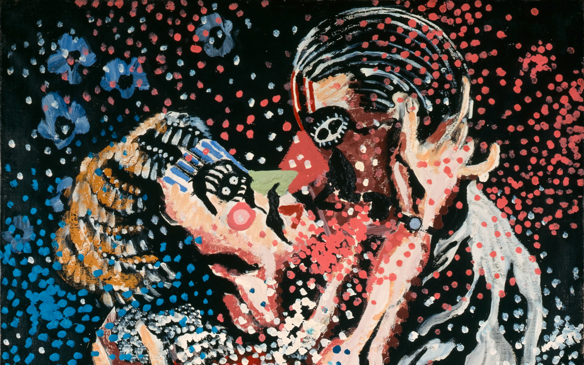 Francis Picabia. *Mardi Gras (Le Baiser) (Mardi Gras [The Kiss] ).* c. 1924–26. Enamel paint on canvas, 36 1/4 × 28 3/4″ (92 × 73 cm). Collection of Natalie and Léon Seroussi. © 2017 Artists Rights Society (ARS), New York/ADAGP, Paris