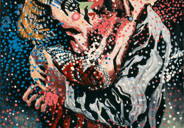 Francis Picabia. Mardi Gras (Le Baiser) (Mardi Gras [The Kiss] ). c. 1924–26. Enamel paint on canvas, 36 1/4 × 28 3/4″ (92 × 73 cm). Collection of Natalie and Léon Seroussi. © 2017 Artists Rights Society (ARS), New York/ADAGP, Paris