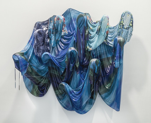 Kevin Beasley. *Untitled (Sea).* 2016. House dresses, resin and fiberglass, 82 × 96 × 26 1/2″ (208.3 × 243.8 × 67.3 cm). Gift of Marie-Josée and Henry R. Kravis