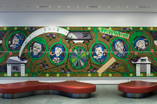 Installation view of the exhibition Public Spaces Changes 2014. Shown: Lari Pittman. Flying Carpet with Magic Mirrors for a Distorted Nation. 2013. Cel-vinyl, spray enamel on canvas over wood panel, in four parts, each 108 × 90″ (274.3 × 228.6 cm), overall 108 × 360 1/8″ (274.3 × 914.7 cm). Gift of the Steven and Alexandra Cohen Foundation, The Broad Art Foundation, and Jill and Peter Kraus. Photo: John Wronn
