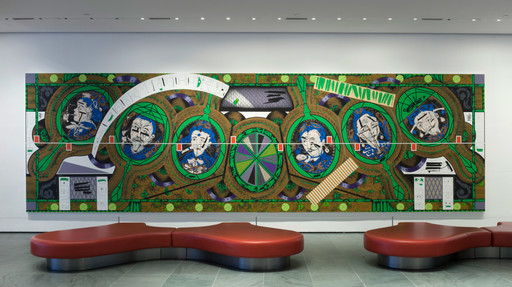 Installation view of the exhibition *Public Spaces Changes 2014.* Shown: Lari Pittman. *Flying Carpet with Magic Mirrors for a Distorted Nation.* 2013. Cel-vinyl, spray enamel on canvas over wood panel, in four parts, each 108 × 90″ (274.3 × 228.6 cm), overall 108 × 360 1/8″ (274.3 × 914.7 cm). Gift of the Steven and Alexandra Cohen Foundation, The Broad Art Foundation, and Jill and Peter Kraus. Photo: John Wronn