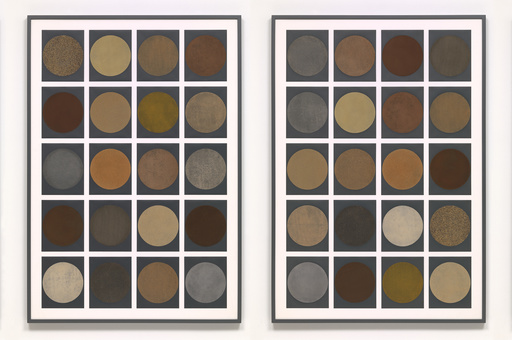 Haegue Yang. Spice Moons. 2013. Series of 160 spices and herbs printed on sandpaper, mounted on eight panels, each (approx.): 60 × 48″ (152.4 × 121.9 cm). Acquired through the generosity of the Contemporary Arts Council of The Museum of Modern Art and the Committee on Prints and Illustrated Books Fund. © 2017 Haegue Yang. Photo: Jonathan Muzikar