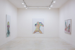 Installation view of Maria Lassnig at MoMA PS1, 2014. Photo Matthew Septimus. © 2014 MoMA PS1