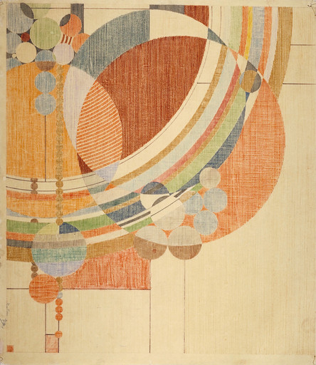 "Frank Lloyd Wright. March Balloons. 1955. Drawing based on a c. 1926 design for *Liberty* magazine. Colored pencil on paper, 28 1/4 x 24 1/2"" (71.8 x 62.2 cm). The Frank Lloyd Wright Foundation Archives (The Museum of Modern Art 