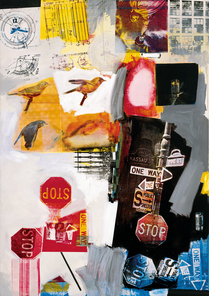 "Robert Rauschenberg. *Overdrive*. 1963. Oil and silkscreen ink on canvas, 84 x 60"". The Museum of Modern Art, New York. Promised gift of Glenn and Eva Dubin. © Robert Rauschenberg Foundation"
