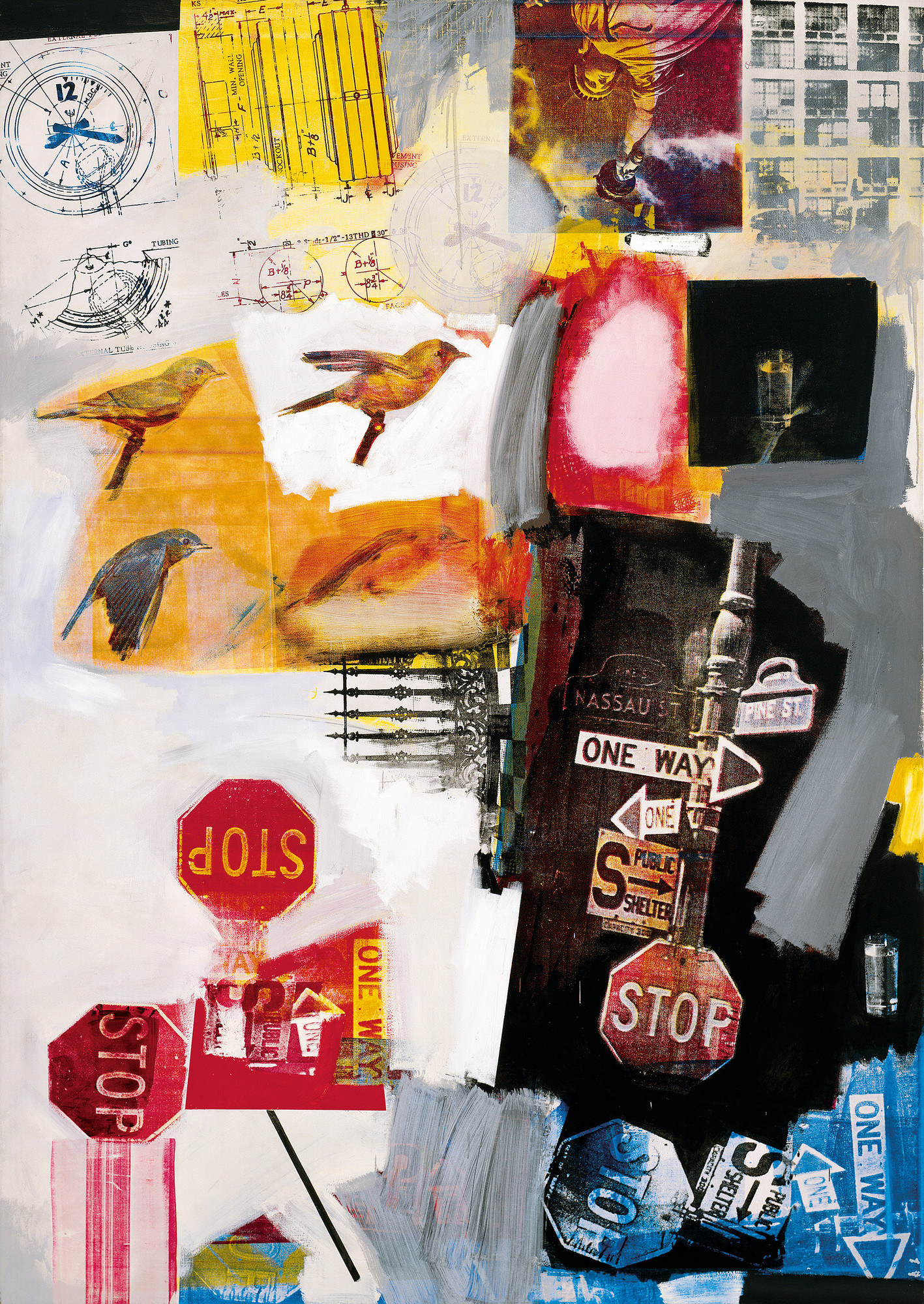 "Robert Rauschenberg. Overdrive. 1963. Oil and silkscreen ink on canvas, 84 x 60"". The Museum of Modern Art, New York. Promised gift of Glenn and Eva Dubin. © Robert Rauschenberg Foundation"