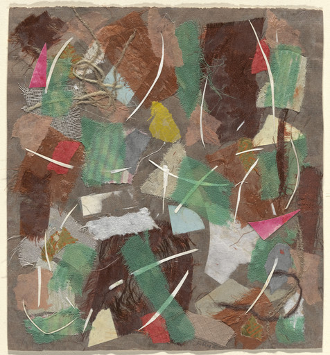 Anne Ryan. Collage, 353. 1949. Pasted colored papers, cloth, and string on paper, 7 1⁄2 x 6 7/8″ (19 x 17.5 cm). The Museum of Modern Art, New York. Gift of Elizabeth McFadden