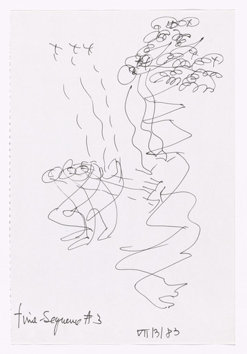Merce Cunningham (American, 1919–2009). *Notes for Roaratorio.* 1983. Felt-tip pen on paper, 11 5/8 × 7 3/4″ (29.5 × 19.7 cm). Anonymous gift in honor of Margarete Roeder. © 2017 Merce Cunningham. Photo: Peter Butler