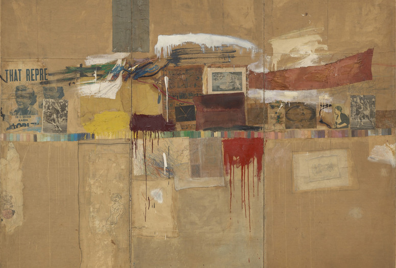 "Robert Rauschenberg. Rebus. 1955. Oil, synthetic polymer paint, pencil, crayon, pastel, paper paint chips, printed and painted paper, newspaper, journal, poster clippings, comic strips, drawing by Cy Twombly, and fabric on canvas, mounted and stapled to fabric, three panels, 8' × 10' 11 1⁄8"" (243.8 × 333.1 cm). The Museum of Modern Art, New York. Partial and promised gift of Jo Carole and Ronald S. Lauder and bequest of Virginia C. Field, gift of Mr. and Mrs. Peter A. Rübel,and gift of Jay R. Braus (all by exchange). © 2017 Robert Rauschenberg Foundation"