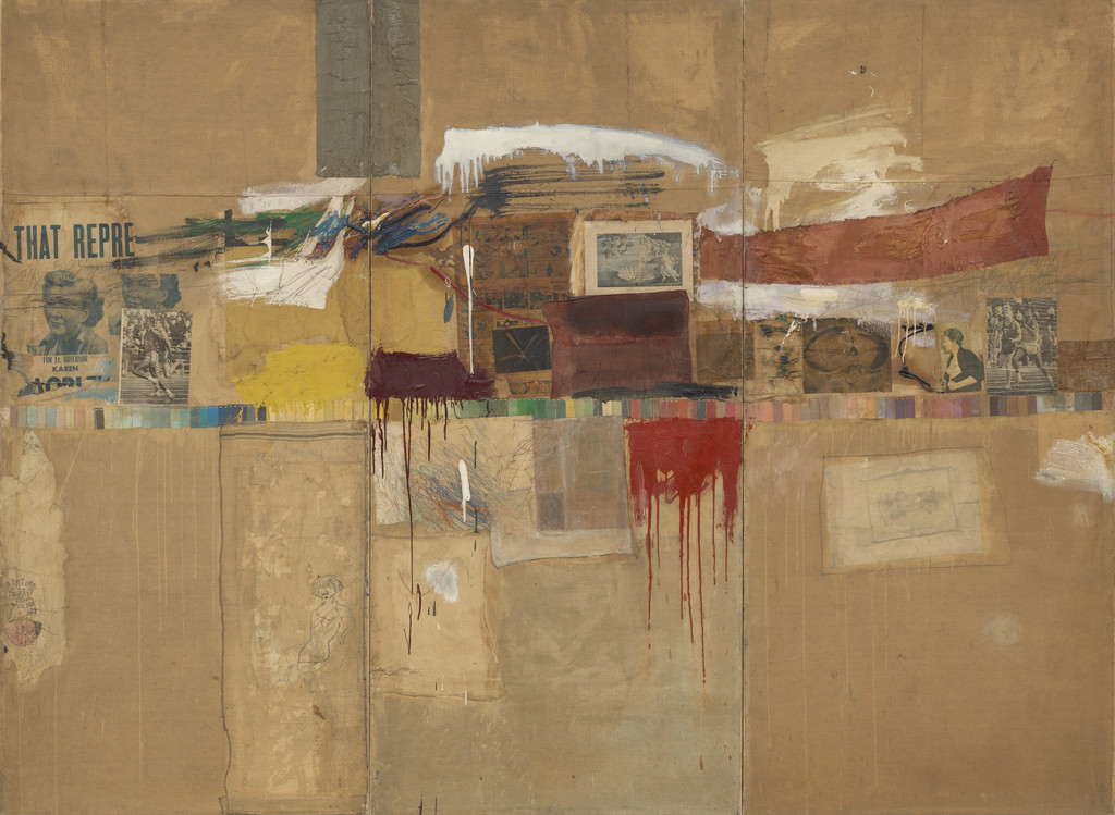 "Robert Rauschenberg. *Rebus*. 1955. Oil, synthetic polymer paint, pencil, crayon, pastel, paper paint chips, printed and painted paper, newspaper, journal, poster clippings, comic strips, drawing by Cy Twombly, and fabric on canvas, mounted and stapled to fabric, three panels, 8' × 10' 11 1/8"" (243.8 × 333.1 cm). The Museum of Modern Art, New York. Partial and promised gift of Jo Carole and Ronald S. Lauder and bequest of Virginia C. Field, gift of Mr. and Mrs. Peter A. Rübel,and gift of Jay R. Braus (all by exchange). © 2017 Robert Rauschenberg Foundation"