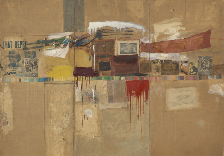 "Robert Rauschenberg. Rebus. 1955. Oil, synthetic polymer paint, pencil, crayon, pastel, paper paint chips, printed and painted paper, newspaper, journal, poster clippings, comic strips, drawing by Cy Twombly, and fabric on canvas, mounted and stapled to fabric, three panels, 8' × 10' 11 1/8"" (243.8 × 333.1 cm). The Museum of Modern Art, New York. Partial and promised gift of Jo Carole and Ronald S. Lauder and bequest of Virginia C. Field, gift of Mr. and Mrs. Peter A. Rübel,and gift of Jay R. Braus (all by exchange). © 2017 Robert Rauschenberg Foundation"