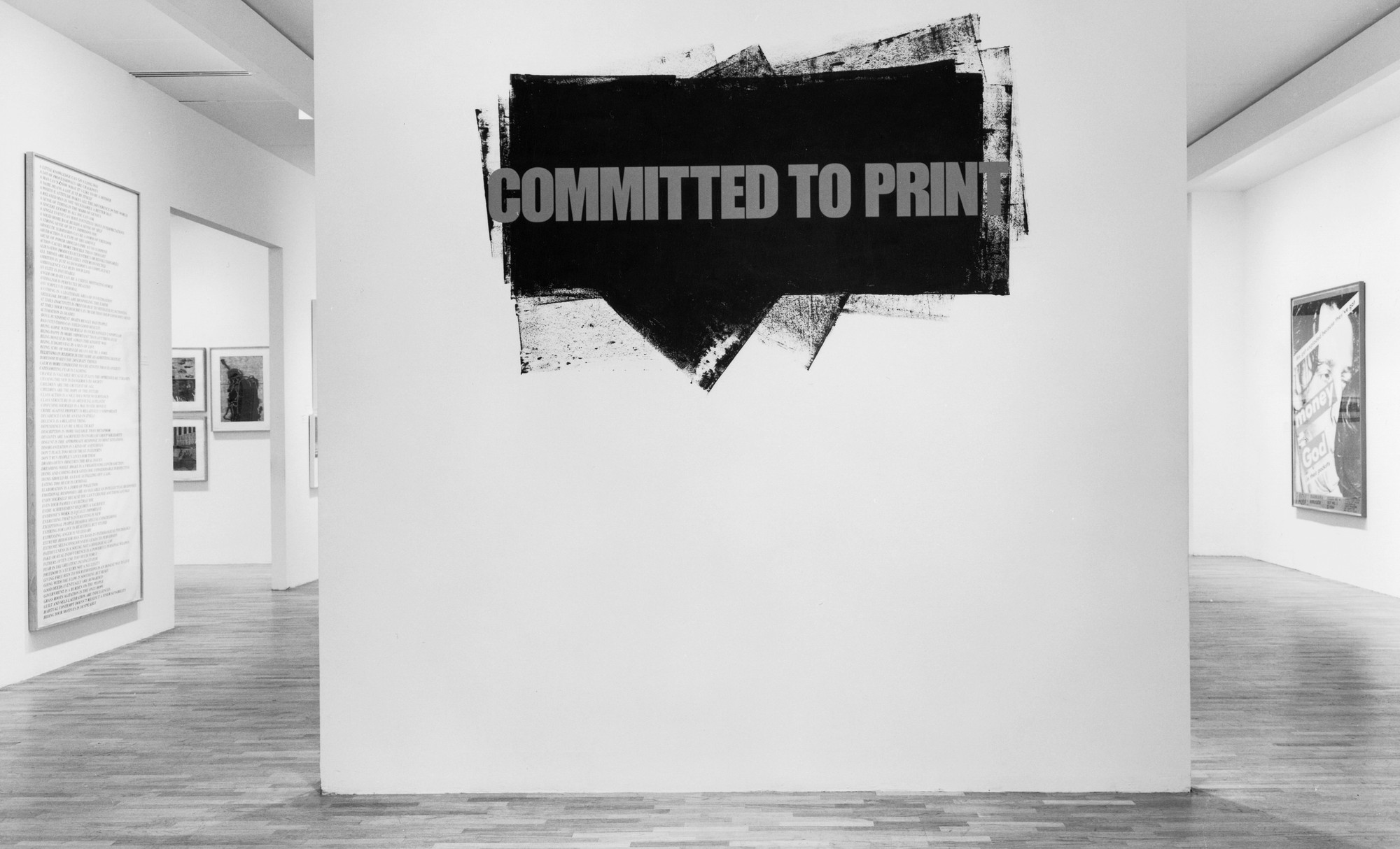 Installation view of Committed to Print. The Museum of Modern Art Archives, New York