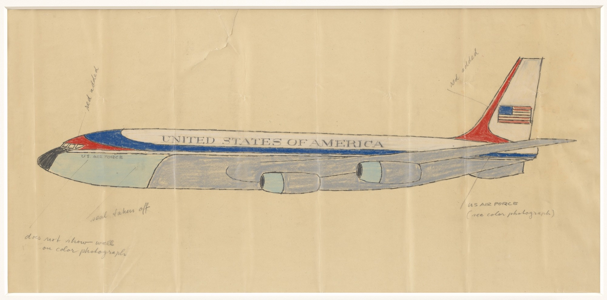 Raymond Loewy. Livery Design for Air Force One. 1962. Gouache, colored pencil, graphite on paper, 10 1/2 × 22″ (26.7 × 55.9 cm). Gift of Jo Carole and Ronald S. Lauder
